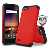 CasemartUSA Phone Case for [ZTE ZFIVE G LTE (Z557BL) / ZTE ZFIVE C LTE (Z558VL)], [DuoTEK Series][Red] Shockproof Defender Protective Cover (Tracfone, Simple Mobile, Straight Talk, Total Wireless)