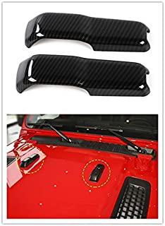 Highitem ABS Car Engine Hood Hinge Cover Decoration Cover Stickers Exterior Accessories for Jeep Wrangler JL 2018 Up (Carbon Fiber)