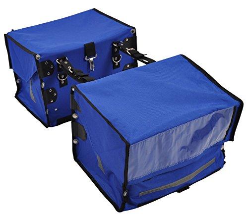 PAPERLINO Zeitungstaschen • 2 Blaue Zustellertaschen für Zeitungswagen, Zeitungsroller & Fahrrad • rundum Reflektoren • Robustes Polyamidgewebe • Innenmaße ca. 40x30x30 cm • Zustellerbedarf