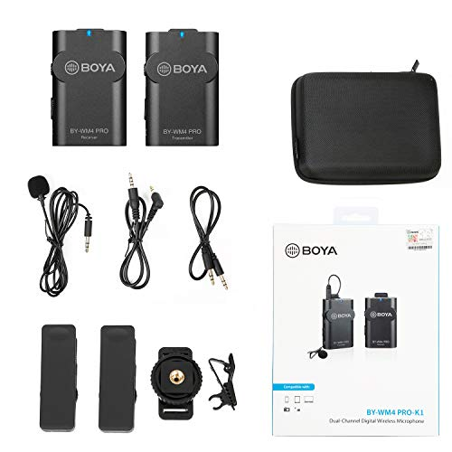 BOYA Upgrade BY-WM4 PRO 2.4GHz Wireless Lavalier Lapel Microphone, Microfono di Lavaliere senza fili