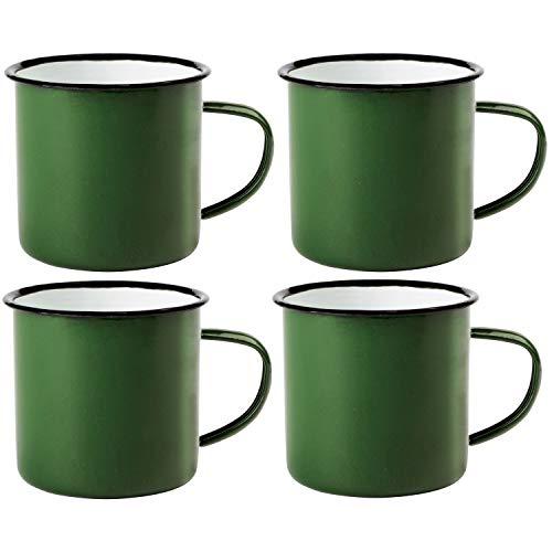 Preiswert&Gut 4 x Emaille-Becher Vintage Look 350ml Kaffeetasse Becher Coffee Trinkbecher Farbwahl (Grün)