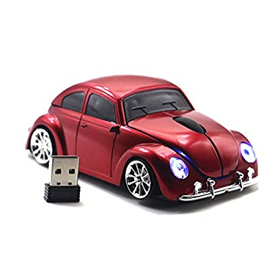 FASBEL for VW Beetle Sports Car Mouse Wireless Mouse Portable Computer Laptop Mice Optical Mouse (Red)