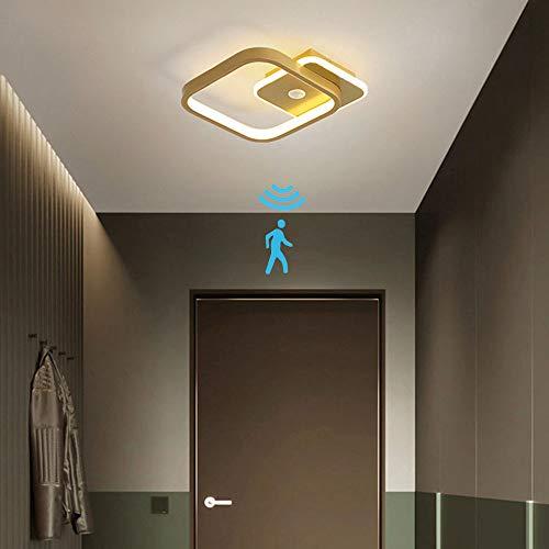 Lámpara de Techo Led Con Detector de Movimiento Por Radar, Luz de Techo Cuadrada Dorada de 14 W Para Interiores Para Pasillo Escaleras Veranda, Blanco CáLido 3000k, Aluminio/Gel De SíLice L23cm