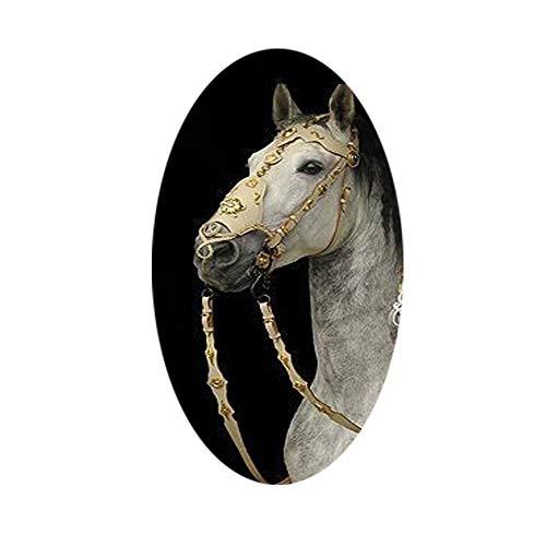 Cabezada de cuero para caballos, equipo de accesorios para caballos de cuero de vaca boquilla( Blanco) (Beige)