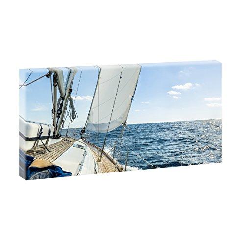 Lifestyle Bild auf Leinwand Sailing Segeln - 160x80 cm Wandbild im XXL-Format, Leinwandbild mit Kunstdruck, Moderne Fotografie auf Holzrahmen gespannt, Made in Germany, Farbig