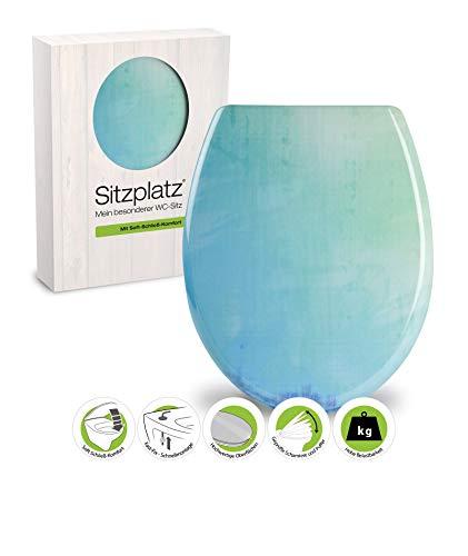 SITZPLATZ® WC-Sitz mit Absenkautomatik, buntes Dekor Farbig, antibakterieller Duroplast Toilettensitz, Fast-Fix Schnellbefestigung, Standard O Form universal, Farbverlauf WC Deckel Hellblau, 40681 9