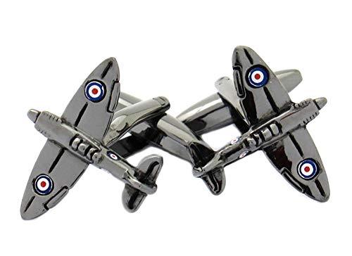 Unbekannt Manschettenknöpfe Flugzeug gunmetall glänzend + rot-Weiss-Blauer Lackeinlagen + schwarzer Exklusivbox
