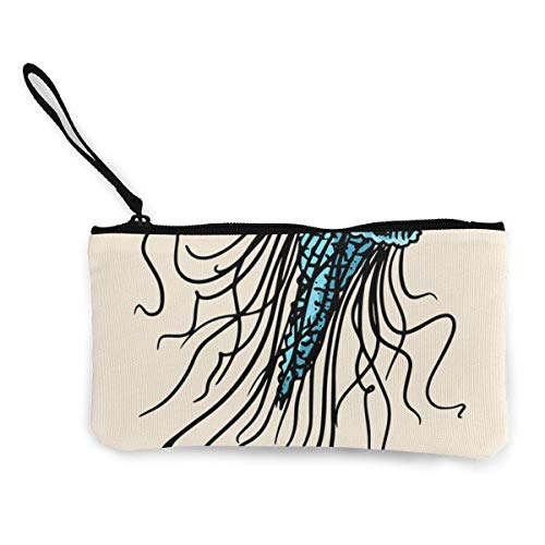 Sea Jellyfish Nautical Or Marine Medusa Canvas Wallet Exquisite Coin Purses Small Canvas Coin Purse is Used to Hold Coin Change, Id and Other