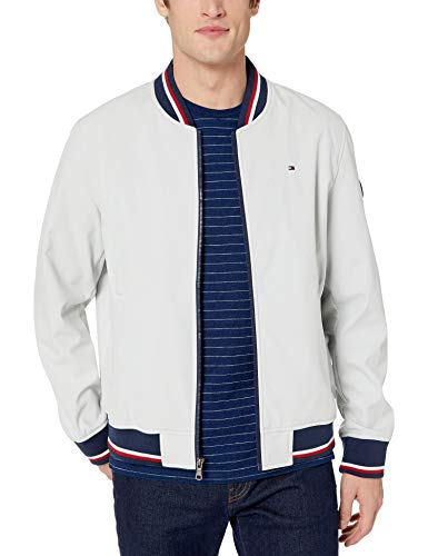 Tommy Hilfiger Men's Lightweight Varsity Rib Knit Bomber Jacket, Ice soft shell, Medium