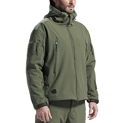FREE SOLDIER Men's Outdoor Waterproof Soft Shell Hooded Military Tactical Jacket (Army Green Medium/US)