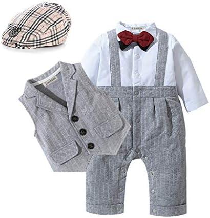 HOSUKKO Baby Boy Suit Long Sleeve Jumpsuit Vest Bow Tie Infant Boy Gentleman Outfits Sets for product image