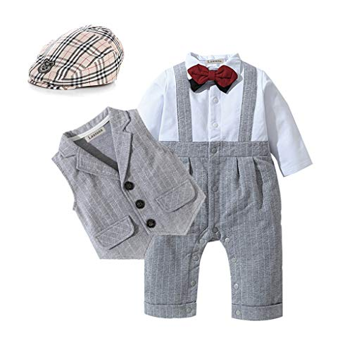 HOSUKKO Baby Boy Suit,Long Sleeve Jumpsuit,Vest,Bow Tie,Infant Boy Gentleman Outfits Sets for Formal Occassion (0-24 Months) Grey