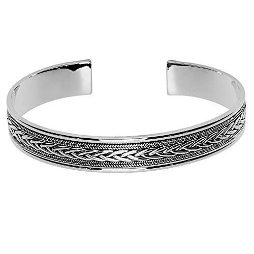 Silverly Doble Trenza Cuerda Pulsera Brazalete Rígido Abierto de Mujer en Plata de Ley .925