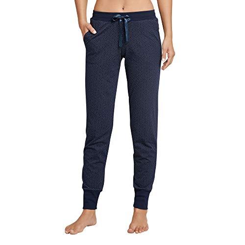 Schiesser Damen Mix & Relax Jerseyhose lang Schlafanzughose, Blau (Nachtblau 804), 38