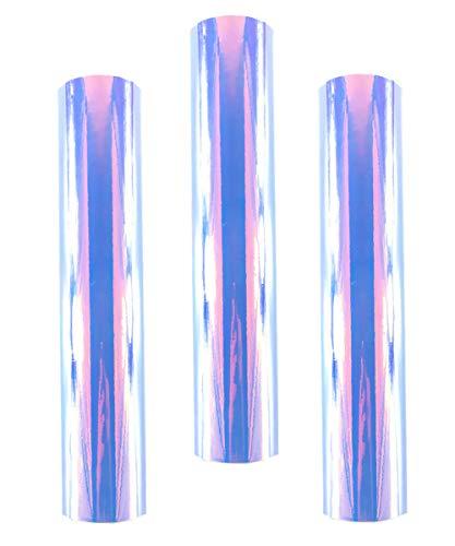Redodeco Glänzende Holografische Opal-Vinyl-Chrom-Klebefolie, permanente Vinylfolie, Rolle, 30cm x 30cm, 3Bögen opal
