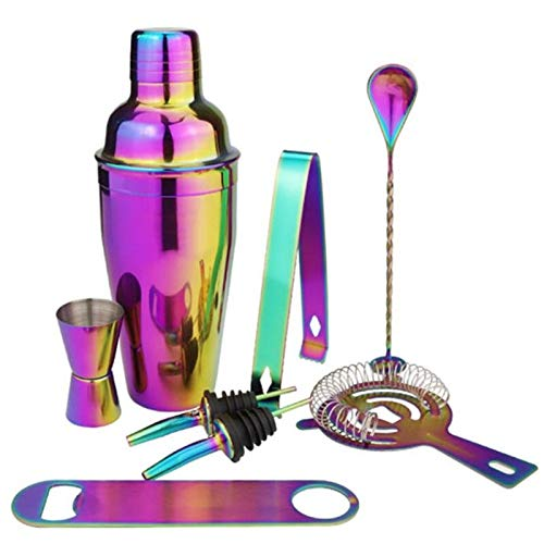 HNXCBH Flachmänner Edelstahl Cocktail Shaker Set 8Pcs Bunte Barmixer Kit 550ml 750ml Cocktail Whisk Bar Werkzeuge Wein Schüttler for Partei (Color : 550ml)