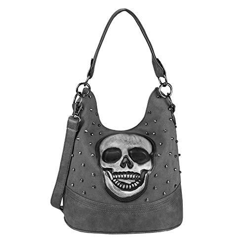 OBC Damen Totenkopf Skull Tasche Nieten Handtasche Shopper Beuteltasche Schultertasche Umhängetache Cross Over Body Bag Leder Optik Grau