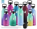 KollyKolla Botella de Agua Acero Inoxidable, Termo Sin BPA Ecológica Reutilizable, Botella Termica con Pajita y Filtro, para Niños & Adultos, Deporte, Oficina (350ml Verde Macaron + Azul Macaron)