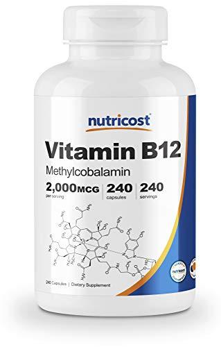 Nutricost Vitamin B12 (Methylcobalamin) 2000mcg, 240 Capsules - Veggie Caps, Non-GMO, Gluten Free B12 Supplement