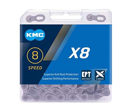 KMC x8 Chaîne Silver 8-Bac 114 Maillons Argent