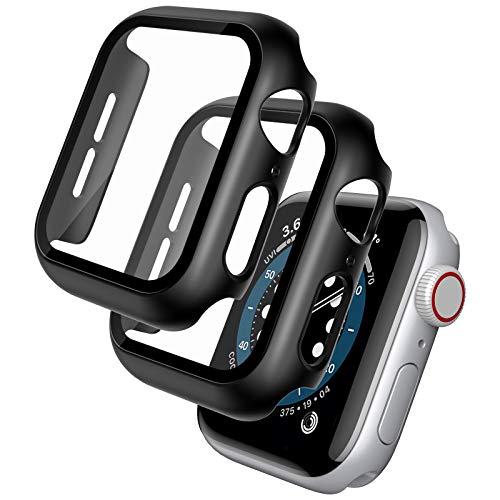 TOCOL [2 Pezzi] Custodia per Apple Watch 6/SE/5/4 44mm Protezione Vetro temperato Completa-Nero, Pellicola Protettiva e Custodia Stampaggio Integrato, [Contro i Graffi], Niente Bolle