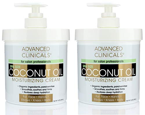Advanced Clinicals Coconut Oil Cream Moisturizing Lotion. (Two - 16oz)