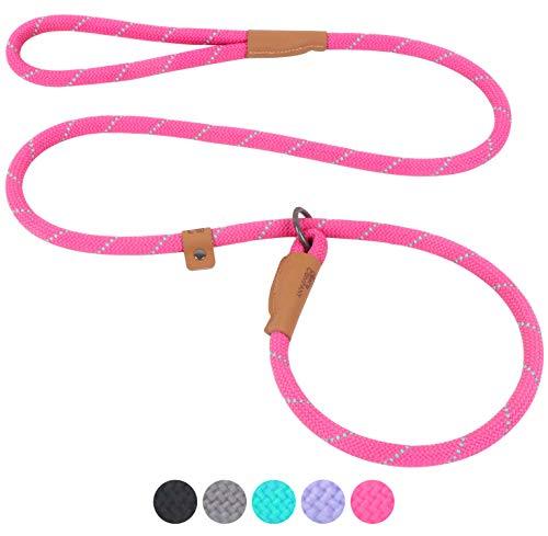 Pet's Company Slip Lead Dog Leash, Reflective Mountain Climbing Rope Leash, Dog Training Leash – 5FT, 2 Sizes (Large, Pink)