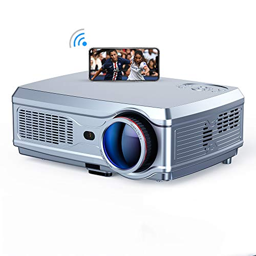 S& Proyector, Full HD 1080P LED Proyector De Video 3D HDMI 4K Android 7.1 (2G + 16G) WiFi Inalámbrico Teatro En Casa,1+8G