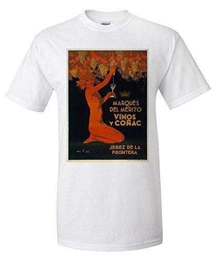 Marqes del Merito - Vinos y Cognac - Jerez de la Frontera Vintage Poster Spain (Premium T-Shirt)