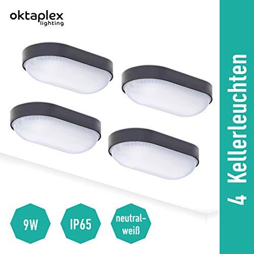 Set van 4 kelderlamp LED ovale lamp kelderlicht 4000K 800Lm neutrale witte ovale lamp zwart IP65 9W buitenlamp wandlamp