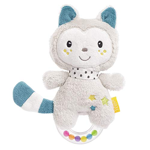 Fehn 057140 - Sonajero con anilla para gato, sonajero, chirrido, sentir, jugar con animales de tela suave (Producto para bebé)