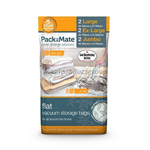 Packmate ® - 6 Bolsas para almacenaje comprimido – 2 Tamaño Jumbo: (90 x 110 cm) 2 Extra Grande (70 x 105cm), 2 Grande (55 x 80cm) - para Ropa, edredones tamaño Matrimonio, Ropa de Cama y más