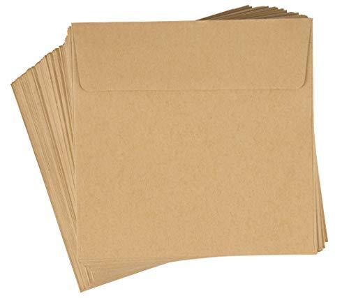 Sobres cuadrados, sobres de estraza marron (5.5 x 5.5 pulgadas, 100 unidades)