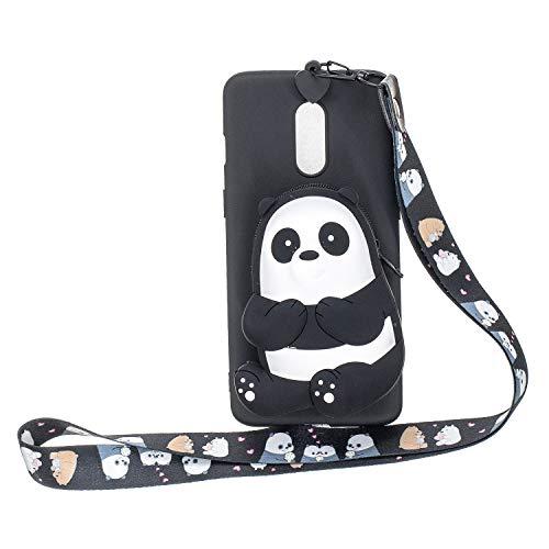 Miagon Silikon Hülle für OnePlus 7,3D Süß Brieftasche Lager Tasche Design mit Halskette Kordel Schnur Handykette Necklace Band,Schwarz Bär
