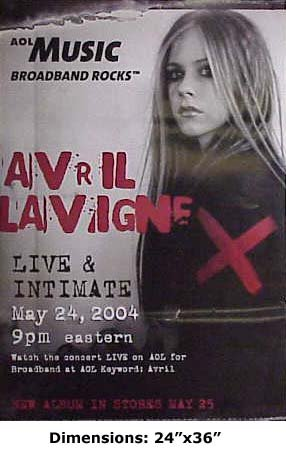 Avril Lavigne Live & Intimate poster. The poster is not sold by Avril Lavigne