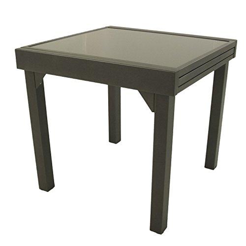 Edenjardi Mesa de Exterior Extensible de 80 cm a 160 cm, Aluminio Color Antracita y Cristal Grueso Color taupé, Tamaño: 80x80/160x76 cm