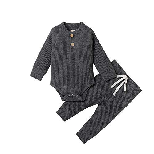 Carolilly Pijama unisex para bebé, niña, recién nacido, mono de softshell, manga larga Gris oscuro B. 0-3 Meses