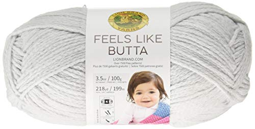 Lion Brand Yarn Feels Like Butta Yarn, Pale Grey