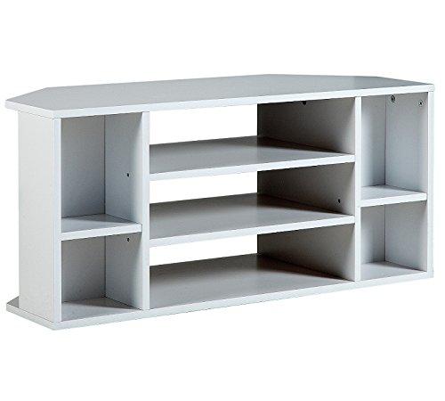 HOME Suki - Mueble esquinero para televisión, color blanco