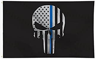 Tactical Pro Supply American Flag - 100% Made in USA Polyester Cotton Materials- for Indoor Outdoor 3 x 5 Size Black White (Blue Line Punisher)