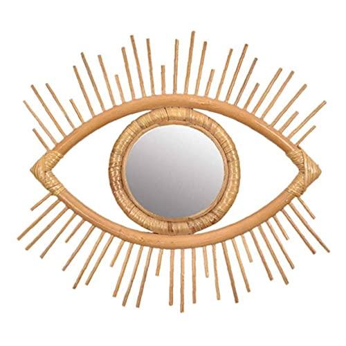 TOPofly Rattan Parete Frame Specchio Wall Hanging Decoration Art Eye Ciondolo Decor Soggiorno Camera da Letto