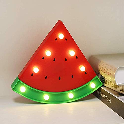 Cute Watermelon Shaped LED Night Light Batteries Operated Table Night Lamps Bedroom Nursery Home Bedside Indoor Decorations Birthday Christmas Gift for Kids Children Girls