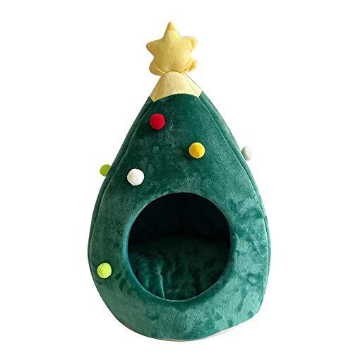 Queenback - Cuccia per animali domestici, lavabile, semi chiusa, morbida cuccia per animali domestici a tema natalizio, Verde, large