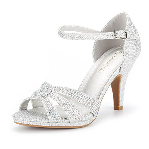 DREAM PAIRS Women's Amore_1 Silver Glitter Fashion Stilettos Open Toe Pump Heel Sandals Size 7.5 B(M) US
