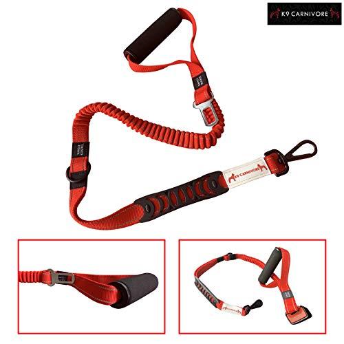 K9 CARNIVORE Tactical Foam Barrel Handle Retractable Reflective Bungee Dog Training Leash with Car Seat Belt