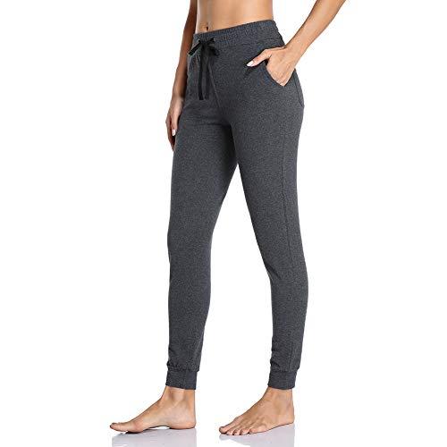 Gimdumasa Jogginghose Damen Slim Fit Baumwolle Sporthose Freizeithose mit Streifen Traininghose Sweathosen mit Seitentaschen für Jogging Laufen Fitness GI06 (Dunkelgrau, Small)