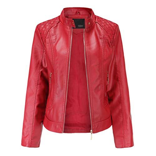 Kaiyei Chaquetas de PU Cuero Sintetico Mujer Slim Fit Talla Grande Cuello Alto Primavera Otoño Manga Larga Elegante Jacket Cortas Cazadora Biker con Cremalleras Rojo 4XL