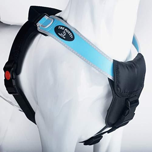 treponti Harnais Harnais Potenza avec bord réfléchissantes Bleu clair So – 65 cm jusqu'à 10–20 kg