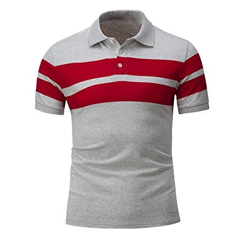 N\P Camiseta de manga corta para hombre con cuello de pie