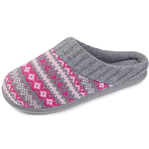 RockDove Women's Fair Isle Sweater Knit Memory Foam Slipper, Size 11-12 US Women, Rose Red